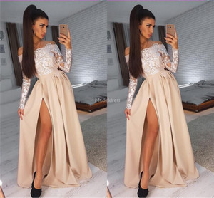 Wholesale evning dresses for sale - Group buy 2019 Elegant Lace Prom Dresses With Illusion Long Sleeves High Side Split Special Occasion Dress Plus Size Formal Party Evning Gown Vestidos