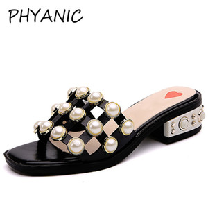 PHYANIC 2018 Woman Sandals String Bead Fashion Square Toe Slippers Summer Beach Flats Slip On Women Shoes Creepers
