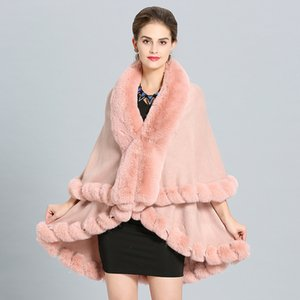Wholesale Women Bridal Wedding Poncho Double Layer Long Winter Warm Luxury Faux Fur Shawl Wrap Stole Cape