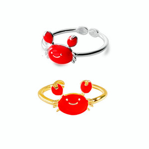 Wholesale crab rings resale online - S925 sterling silver cute red crab ring high quality fashion lady opening design ring adjustable jewelry gift JZ2089