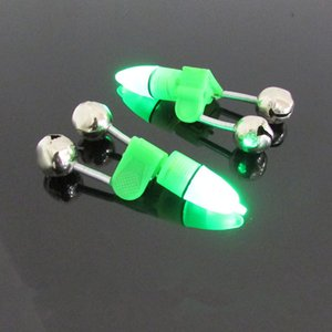 Wholesale 600PCS LED Fishing Rod Bite Alarm Bells Ring Sea Bream Bell Night Fishing Green Lighted Bell Lures Accessory Fish Tool