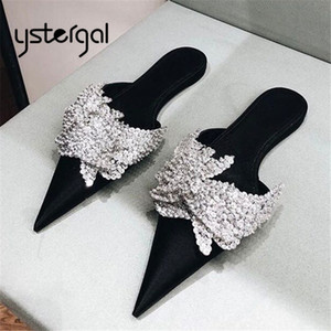 Ystergal Black Satin Women Slippers Pointed Toe Mules Crystal Flat Shoes Woman Loafers Outside Footwear Ladies Flats Dress Shoes
