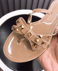 Wholesale Newest Designer Sandals Rivets Brands Studded Womens Shoes Cool Beach Jelly Platform Lady Flip Flops Hot Bow Knot Flat Slippers Sandal