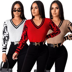 Wholesale ZS Z060 Women Sweater Winter V Neck Long Sleeves Loose Fit Pullover Letter Sweater Sweatshirt Solid Tops Pullover Shirt