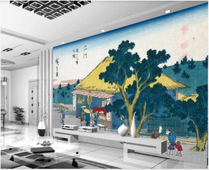 Wholesale japanese housing resale online - 3D wall covering custom mural wallpaper Japanese architecture landscape house background wall adhesive tape home decor wall papers