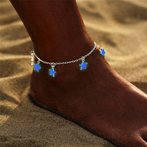 Wholesale sexy jewelry for women ankle resale online - Fashion Luminous Pentagram Star Ankle Heart Star Charm Bracelet Anklets Sandal Sexy Beach Leg Chain For Women Summer Beach Jewelry