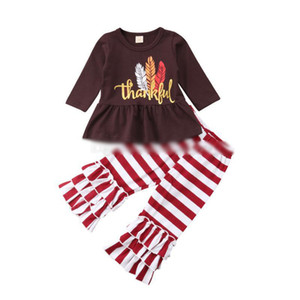 Wholesale New style baby girl clothing set Thanksgiving kids letter feather printed top and ruffle stripe pant boutique children clothing