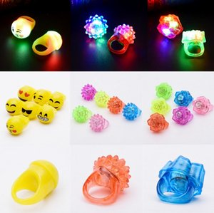 Wholesale Colorful Strawberry Glowing Fluorescent Ring Glitter Strawberry Silicone Soft Finger Light LED Smiley Ring Light Night Club Light Ring CY42
