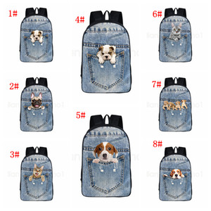 Wholesale 8Styles Cat dog backpack Pocket pet cartoon animlas printed backpack school bag student teenager Storage Organizer shoulder bags FFA2812