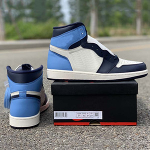 Wholesale Obsidian black blue toe high s Basketball Shoes high quality Genuine Leather mens trainers New Fashion Sneakers