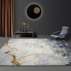 Wholesale Nordic Abstract Gold Curve Carpets For Living Room Modern Bedroom Rugs Plush Bedside Carpet Sofa Mat Thicken Home Decorative