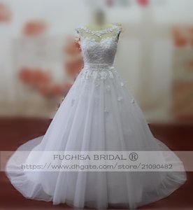 Wholesale Sheer Sweetheart Neck Sleeveless Wedding Dress with Corset Back Long Princess Bridal Dress Gown with Belt