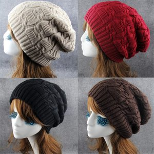 Wholesale Hip Hop Knitted Cap Women s Winter Hat Casual Acrylic Slouchy Cap Warm Ski Beanie Hats Female Soft Baggy Skullies Beanies Men