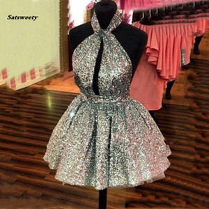 Cheap Sparkling Mini Prom Ball Gowns Dress Sequin Womens Puffy Short Dresses Silver Gold Custom Color Open Back Party Gown Sexy