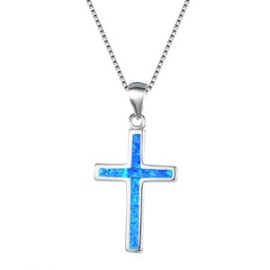 Wholesale Elegant Blue White Fire Opal Collar Necklaces For Women Sterling Silver Cross Necklaces Jewelry Xmas Gifts