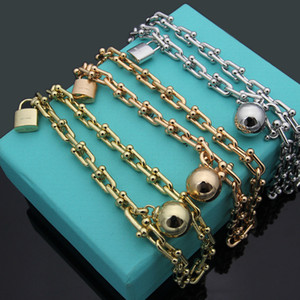 Wholesale New Arrive Fashion Lady L Titanium steel Letter T K Plated Gold U shape Chain Thick Bracelets Lock Bead Pendant