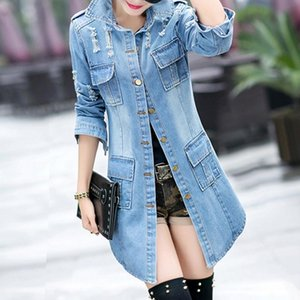 Wholesale Korean Female Classic Blue Coat Relaxed Fit Tops Sleeve Jean Outwear Long Denim Jacket Women C19041501