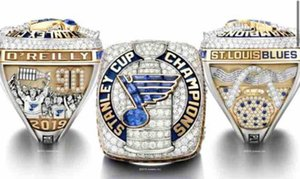 2018 2019 St.Louis Blues Stanley Cup Team Champions Championship Ring With Wooden Display Box Souvenir Fan Gift Wholesale 2020 Drop Shipping