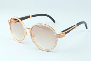 Wholesale 19 years of new luxury round frame diamond sunglasses T19900692 retro fashion golden hats natural black horns mirror legs ornament