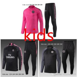 Wholesale Top PSG kids soccer Tracksuit boys DI MARIA MBAPPE Track suits jacket CAVANI NEYMAR JR chandal training suits sports wear