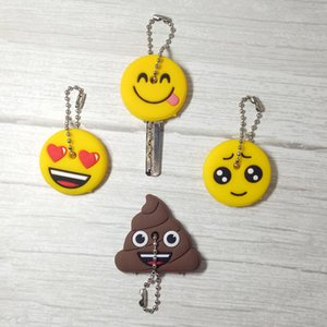 Wholesale Smile Key Cover Cap Silicone Cute Cartoon Head Amusing Yellow Face Stool Keychain Women Porte Clef