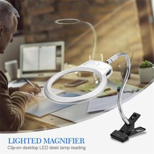 Clip On Desktop Illuminated Magnifying Glasses Magnifier Reading Loupe Metal Hose LED Lighted Lamp Top Desk Magnifier With Clamp