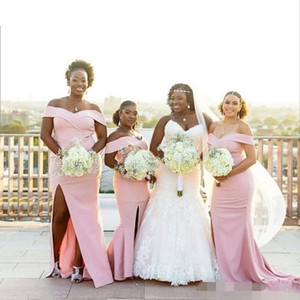2019 Cheap Dusty Pink Mermaid Bridesmaid Dresses South African Plus Size Sexy Side Slit Off the Shoulder Maid of Honor Gown Custom Made on Sale