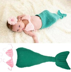 Wholesale Newborn Photography Baby Props Outfit Photo Costume Girls Handmade Crochet Mermaid Set Headband Bra Tail