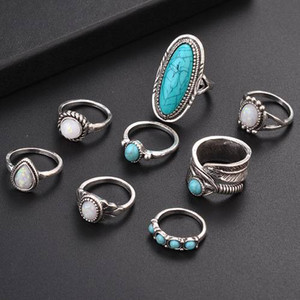 8Pcs set Silver Turquoise Opal Rings Set Natural Gemstone Ring Women Fashion Jewelry