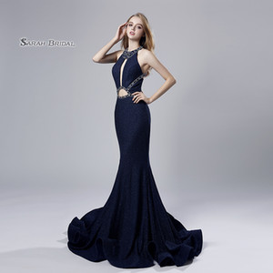 Navy Blue Crystal Mermaid Beaded Prom Party Dress 2019 Sexy Elegant Beading Vestidos De Festa Evening Wear Formal Occasion Gown LX529 on Sale