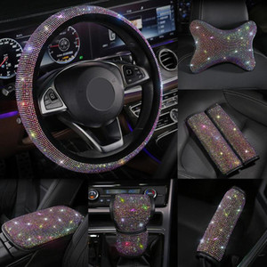 Wholesale seating belt for sale - Group buy Colorful Rhinestones Crystal Car Seat belt cover pad Gear Shift Set Diamond Steering wheel cover Auto Interior accessories Kit