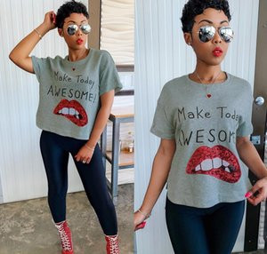 19AW Women Big Lip Sequins Tshirts Letter Printed Crew Neck Blouse Short Sleeve Clothing Cotton Fashion Apparel