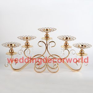 Wholesale wedding decorative candelabra resale online - Gold Crystal Candle Holders Candelabra for Wedding Candlelight Home Decoration Table Decorative Centerpiece decor00025