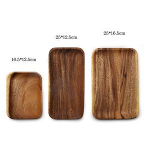 Wholesale Wood Fruit Plates Rectangular Tray Snack Candy Cake Holder Wooden Storage Dishes Kitchen Tool