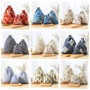 Wholesale 11styles Cotton linen drawstring shopping bags printed japanese style storage bags toy travel portable bags home organizer FFA2908