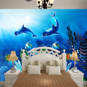 Wholesale playgrounds kids resale online - 2m m custom large mural wallpaper blue ocean wallpaper for kids bedroom wall background baby playground house wall decor