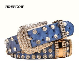 Wholesale New Fashion Rhinestone Belts For Women Luxury Designer Genuine Leather Belt High Quality Cow Second Layer Skin Strap Female Y19070503