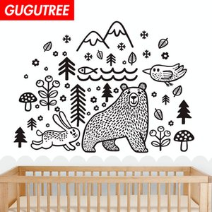 Decorate Home trees animal cartoon art wall sticker decoration Decals mural painting Removable Decor Wallpaper G-1711
