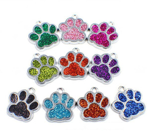 Wholesale Bling Enamel Cat Dog Bear Paw Prints Pendant Fit Rotating Key Chain Keyrings Bracelet Necklace Bag Accessories Jewelry Making