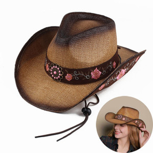 Wholesale Women Straw Western Cowboy Hat For Summer Elegant Lady Cowgirl Sombrero Hombre Caps With Handmade Embroidery Hats