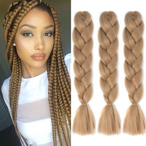 Hot Selling! 24 inch Jumbo Braiding Hair Extensions 1Pcs Lot 100g pcs Synthetic Hair Kanekalon Fiber Crochet Hair Twist Braids For Women