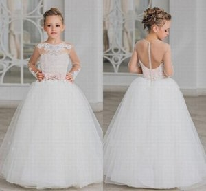 Formal Flower Girl Dress Lace Beaded Party Pink Sash Backless Custom First Communion Dresses Pageant Gow st136 on Sale
