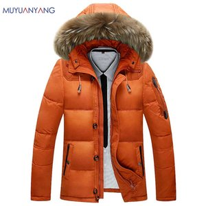 Wholesale 90 White Duck Down winter Warm Coat Men s Hat Detachable Fur Collar Parkas Down Jacket Hooded Feather Clothing for Men Male