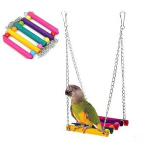 Parrot Toys Colour Woodiness Swing Suspension Bridge Station Stand Cage Parts Gnaw Toys Cross Border on Sale