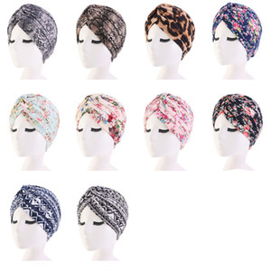 Wholesale Fashion women floral print cotton Turban Hat Bandana Scarf Cancer Chemo Beanies Headwrap Caps Sleep Cap Hair accessories