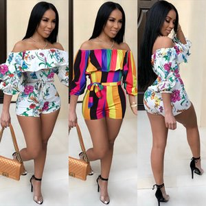 Wholesale Jumpsuit Fashion Sexy Print Stacked Sleeve Off Shoulder Belt Women Striped Floral Jumpsuits Rompers Short Pants New Trendy Stylish Trousers