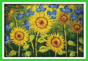 Wholesale paintings sunflowers for sale - Group buy Oil painting sunflowers garden home decor painting Handmade Cross Stitch Embroidery Needlework sets counted print on canvas DMC CT CT