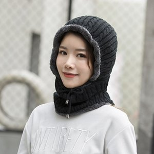 Wholesale 2019 New Warm Neck Knit Hat Fur Pom Poms Hat Mask Winter for Women Wool Knitted Female Balaclava Caps Gorras Bonnet
