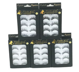 Flash girl brand F810 F820 F830 F840 F850 factory wholesale price 5 models 5pais Eye Lashes Natural 5 pairs 3D mink eyelashes with black box