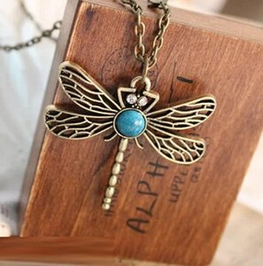 Wholesale XL042 European and American vintage dragonfly wings and a long section of hollow imitation gemstone necklace sweater chain